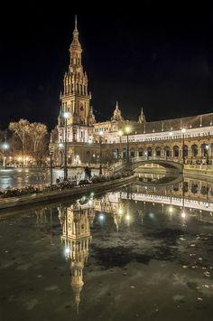 Night in Seville, Spain.