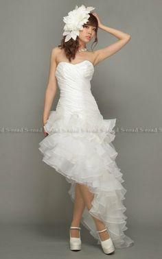 Amazon.co.jp: ミニ&ロング フリルのイレギュラーヘムパーティドレス 二次会 ウエディングドレス: 服&ファッション小物