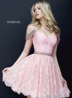 9ef902d07dd5 Beaded Off Shoulder Short Lace Sherri Hill 50503 Homecoming Dresses Cheap