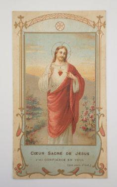 Sacred Heart of Jesus French Indulgence Card