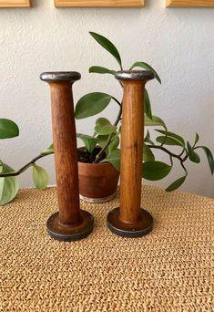5 Holzspulen aus der Weberei in 70er und 80er Jahren