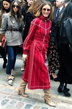 Olivia Palermo wearing Gianvito Rossi Laura Boots in Bisque, Valentino Vltn Hooded Dress in Rosso Scuro and Westward Leaning Malcolm No Middle Sunglasses