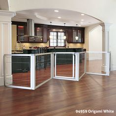 Richell's Convertible Elite Pet Gate can convert to a pen, freestanding gate, or a room divider as your pet grows.