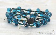 Teal Blue and Black Crocheted Wrap Bracelet - Fall, Winter, Bohemian