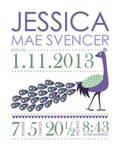 Nursery Wall Art Print Custom (Baby Name Print and Birth Stats) 8x10 peacock, Baby Shower Gift