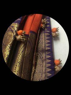 Saree Tassels Designs, Saree Kuchu Designs, Saree Dress, Saree Blouse, Gota Patti Jewellery, Blouse Desings, Stylish Blouse Design, Saree Border, Elegant Saree