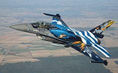 "Hellenic Air Force Lockheed-Martin F-16C Block 52+ Fighting Falcon ""Zeus"" solo display"