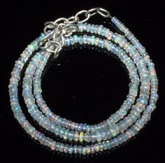 """30 Ct 1 Necklace 2to4 mm 17""""Beads Natural Genuine Ethiopian Welo Fire Opal R7416"""