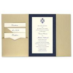6 x 9 Gate Folio Pocket Wedding Invitations  - 2 Layers Large Border by MyGatsby.com