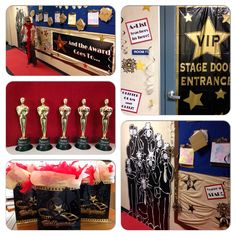Hollywood theme Teacher Appreciation, complete with red carpet, awards, a feather boa, and paparazzi!