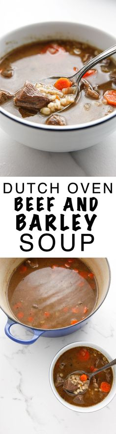 Dutch Oven Beef and Barley Soup is the perfect easy meal for a cold night! via @The Brooklyn Cook