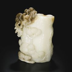 RP: WHITE AND RUSSET JADE 'PINE AND MONKEY' VASE QING DYNASTY, 18TH/19TH CENTURY