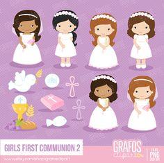 GIRLS FIRST COMMUNION 2 - Digital Clipart Set, Imagenes Primera Comunión, Comunion Clipart, Mi Primera Comunion.