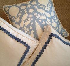 small / narrow gimp trim border frame on a pillow