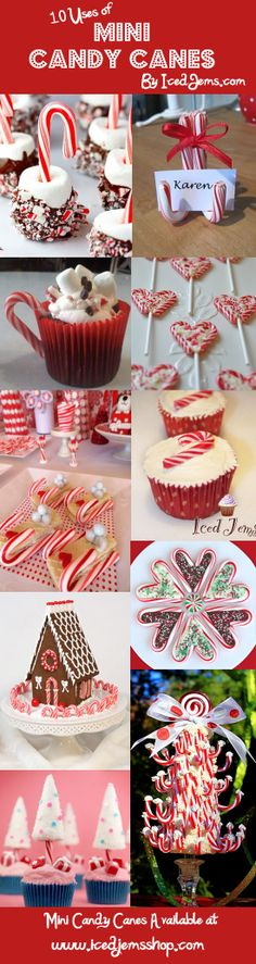 10 Unique Ways to Use Mini Candy Canes and you can even buy them in the shop for Use on Cupcakes, Gingerbread Houses, Hot Chocolate Sticks and more! Christmas Goodies, Christmas Candy, Christmas Desserts, Christmas Treats, Christmas Baking, Holiday Treats, Winter Christmas, Holiday Fun, Holiday Recipes