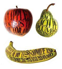 "Illustrated Fruit - Sarah King art is ""huh who woulda thought of that? Stefan Sagmeister, Sagmeister And Walsh, Sarah King, Food Typography, Banana Art, Fruit Art, Fruit And Veg, Bottle Design, Visual Communication"