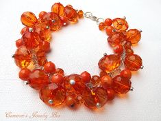 Orange Cluster Bracelet Bridesmaid Jewelry by CameronsJewelryBox, $25.00