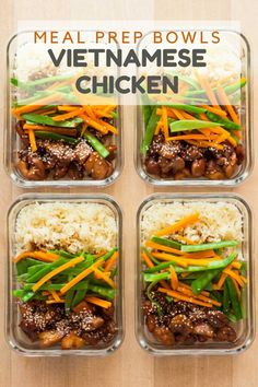 Vietnamese Chicken Meal Prep Bowls The secret to a sticking to . Vietnamese Chicken Meal Prep Bowls The secret to a sticking to a healthy diet is meal planning. Today I've got Vietnamese Chicken Meal Prep Bowls for you to sweeten up your week :] Healthy Food Delivery, Healthy Meal Prep, Healthy Cooking, Healthy Snacks, Healthy Eating, Meal Prep For The Week Low Carb, Simple Meal Prep, Fitness Meal Prep, Healthy Chili