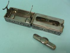 Silver Travelling Curling Iron Heater, London, 1899. :