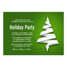 Holiday Party Invitation With Christmas Tree