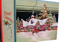 Vintage Merry Christmas Card Unfolds to Reveal Warm Christmas Fireplace #Christmas