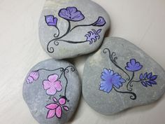 painted rocks with delicate little flowers!
