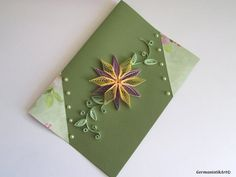 Blank Birthday Card, Pastel Flower Birthday Card, Paper Quilling Flower Greeting Card, I Love You Card, Art card