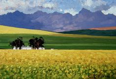 Canola Fields and Cottages, Overberg SOLD Canola Field, South African Artists, African Design, Beautiful Landscapes, Fields, Art Paintings, Drawings, Cottages, Places