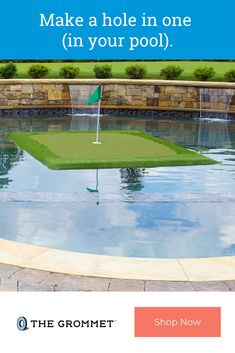 Transform a pool or pond into a putting station. This floating golf green adds an extra element of fun to your practice. Made in the USA from recycled synesthetic turf, it comes with floating golf balls, a flag, a cup, and a turf Pool Landscaping, Kidney Shaped Pool, Pool Finishes, Pool Kits, Golf Green, Gunite Pool, Rectangular Pool, Diy Pool