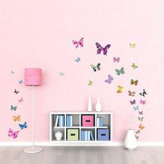 #bebes Decowall DW-1201, 38 Mariposas coloridas pegatinas de pared | wall stickers | pegatinas de pared | pared del tatuaje | etiqueta de la pared | Mural