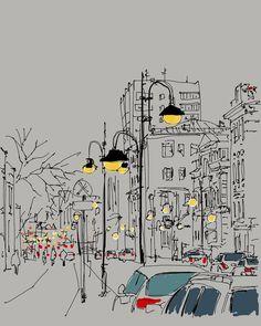 Image result for urban sketch pastels