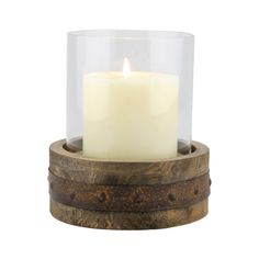 The rustic wood pillar hurricane has a simplistic, yet upcycled feel. It is the perfect spot for your favorite 3 inch in diameter pillar candle.