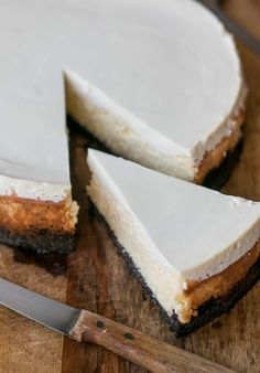 Cheesecake - nothing like it, with a rich layer of cream cheese and tangy sour cream topping!