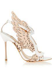 Parisa laser-cut metallic leather sandals