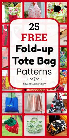 Tote Bag Patterns - Fold-up style. 25 free foldable, fold-up tote bag patterns, tutorials, and diy sewing projects. These bags fold away to a small size, making it easy to keep an extra tote bag or… Bag Pattern Free, Tote Pattern, Bag Patterns To Sew, Sewing Patterns Free, Free Sewing, Diy Sewing Projects, Sewing Projects For Beginners, Sewing Tutorials, Sewing Hacks