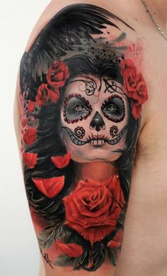 La Catrina Tattoo Meaning - What's behind the trend? Tattoo Girls, Skull Girl Tattoo, Pin Up Girl Tattoo, Girl Face Tattoo, Medusa Tattoo, Sugar Skull Tattoos, Sugar Skull Art, Girl Tattoos, Koi Tattoo Sleeve
