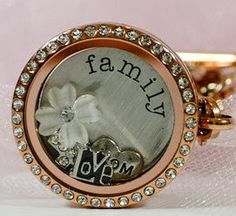South Hill Designs pre design Locket Large Rose Gold with Swarovski Crystals, Silver family screen & four charms.  www.southhilldesigns.com/foreverlockets
