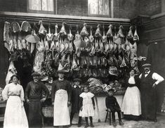 Butcher's shop, Watney St, London c 1900