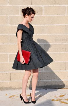 fab frock + red clutch. yes please.