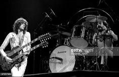 Led Zeppelin perform live on stage at Madison Square Garden, New York on June 07 1977 L-R Jimmy Page, John Bonham
