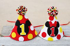 Minnie Mouse and/or Mickey Mouse 1st Birthday Party Hat - Boy Girl Twins by LaLaLolaShop on Etsy https://www.etsy.com/listing/215923835/minnie-mouse-andor-mickey-mouse-1st