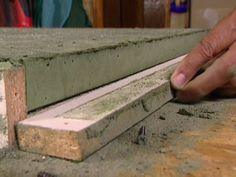 Craft room countertops How to Build a Concrete Countertop : How-To : DIY Network Table Beton, Concrete Table, Concrete Kitchen, Cement Counter, Outdoor Kitchen Countertops, Diy Concrete Countertops, Laminate Counter, Wooden Counter, Concrete Floors