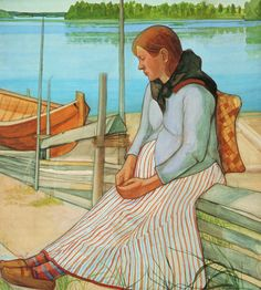 'Woman Sitting on the Beach',1898 - by Juho Rissanen (1873-1950)
