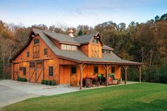 Saratoga Post Beam Barn in Southbury, CT - built by The Barn Yard Great Country Garages in Ellington, CT Timber Frame Homes, Timber House, Shed Builders, Barn Apartment, Timber Beams, Rustic Home Design, Pole Barn Homes, Dream Barn, Post And Beam