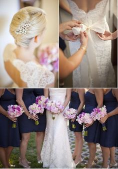 Here are some blue bridesmaids dresses (technically I think they are navy but they're definitely on the brighter side).
