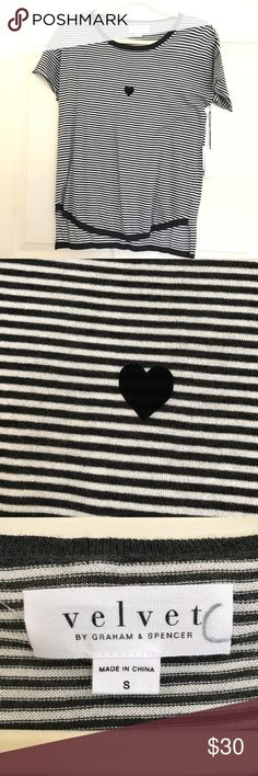 "Velvet size Small gray and black striped shirt 🖤 Velvet NWT Womens  Striped Gray black cotton middle heart short sleeve top  Size small  Measurements Laying Flat   Armpit to armpit 20"" Length 22 1/2"" VELVET Tops Tees - Short Sleeve"