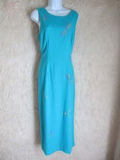 2ab28fdea7 Studio C Maxi Dress Size 16 Turquoise Lime Dragonfly Embroidery Sleeveless  D5  StudioC  MaxiDress