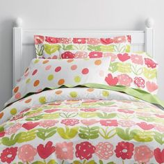 Poppy Floral/Dot Percale Reversible Duvet Cover for Lily B