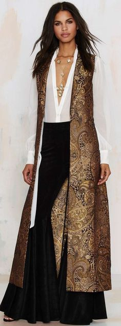 Nasty Gal Go for Baroque Maxi Vest - Clothes Modest Fashion, Hijab Fashion, Fashion Dresses, Indian Dresses, Indian Outfits, African Fashion, Indian Fashion, Look Fashion, Womens Fashion
