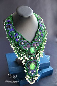 "Buy Necklace ""Legend of Semiramis"" - green, emerald, emerald, amethyst necklace with stones Necklace with pearls"